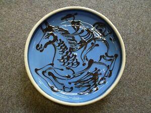 Vintage-slip-trailed-Slipware-glaze-thrown-pottery-ceramic-vessel-dish-bowl