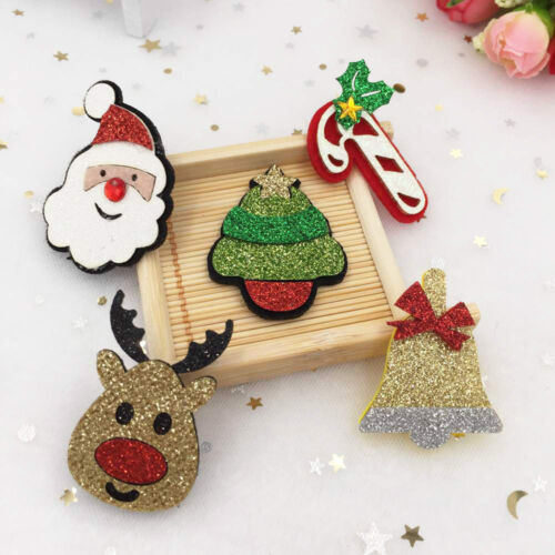 10pcs mix Felt Fabric Paillette Christmas series Applique sewing DIY patches Art