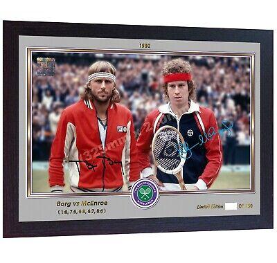 Tennis Framed Bjorn Borg /& John McEnroe 1980 Wimbledon Mens Final Photo Memorabilia