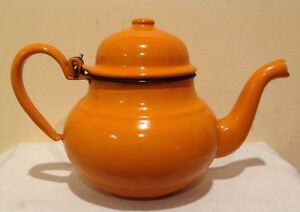 Retro-Orange-Baked-Enamel-Tea-Pot-Kettle