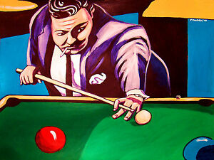 THE HUSTLER PRINT Poster Jackie Gleason Minnesota Fats Pool Table - Fats pool table