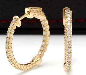 1-15Ct-Natural-Diamond-14K-Solid-Yellow-Gold-Hoop-Earrings