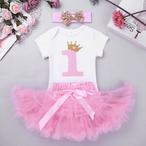 bd3a069947b6 Details about 3PC Baby Girl Romper+Tutu Skirt Cake Smash Outfit 1st  Birthday Party Clothes Set