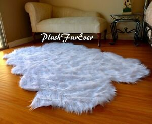 58-x-84-New-White-Faux-Fur-Rug-Home-Accent-Decor-Sheepskins-Pelts-Nursery