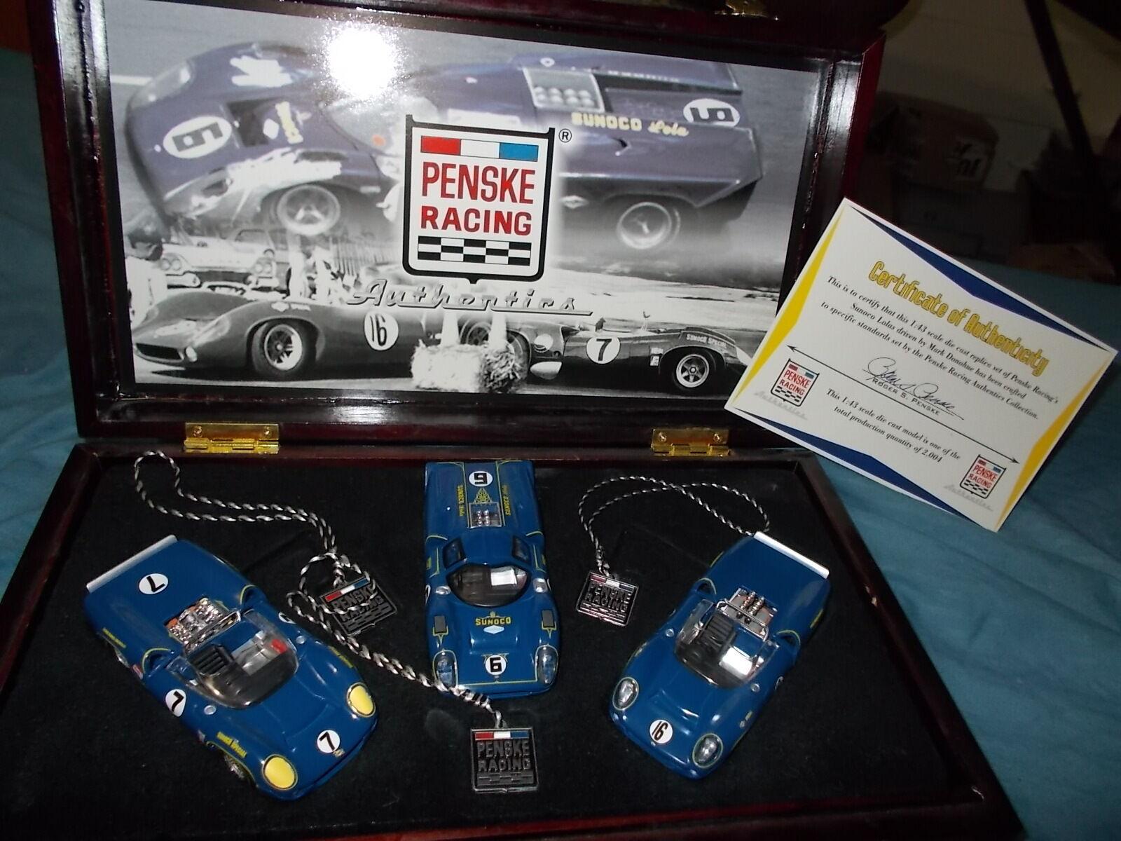 Sunoco T-70 Lola 3 voiture Set PENSKE RACING 1 43 GMP tous Mark Donohue meilleur voitures.