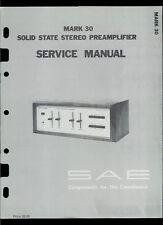 Rare Original Factory SAE Mark MK 30 Stereo Amp Amplifiers Service Manual