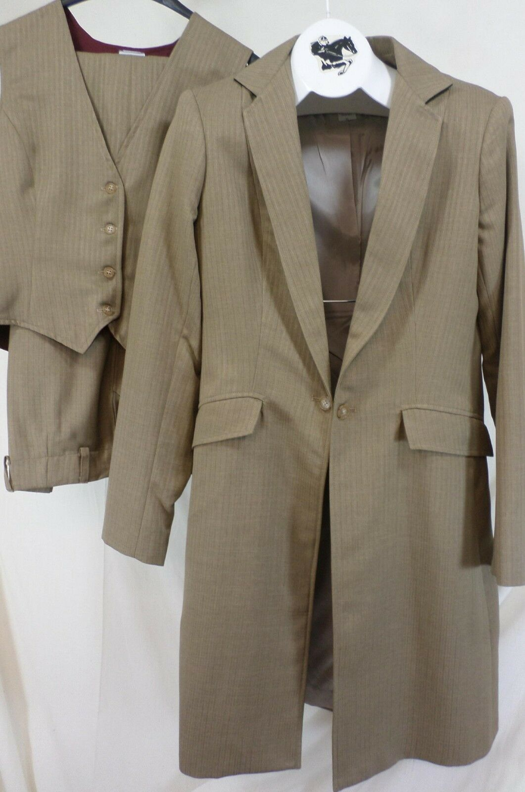 Reed Hill Saddleseat Ld 3p suit Tan Pin poly size 12 - USA