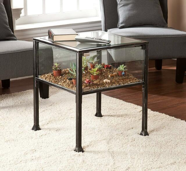 Industrial Accent Side End Table Display Shadow Box Terrarium Glass Metal Black