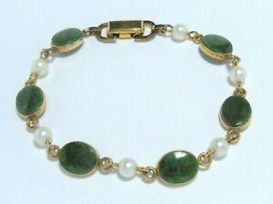 Vintage VAN DELL 1/20 12K GF Genuine Jade Faux Pearl Chain Link Bracelet 7