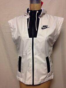 1a1f5f7aca3d Nike Women s Sportswear Tech Hypermesh Hooded Vest S White Black NWT ...
