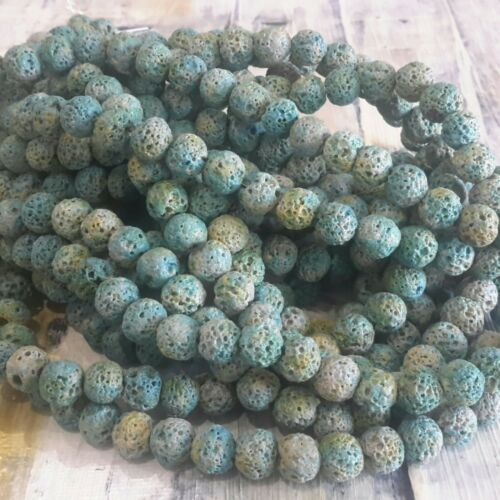 Oz Seller Natural Lava 8mm Round Teal 50pce Strand Free postage