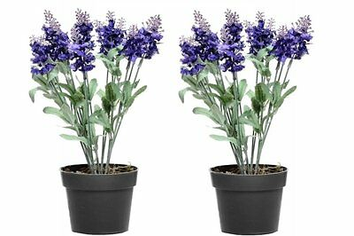 Set of 2 Artificial Potted Lavender Plant with Flowers - 30 cm Potted Plants