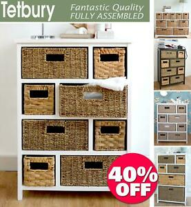 Tetbury Large Storage Unit With Wicker, Wicker Shelves For Bathroom