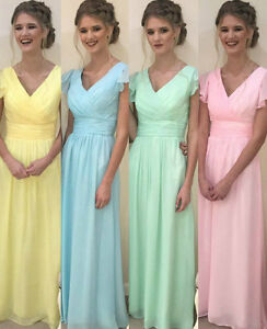 Image Is Loading Chiffon Mixed Pastel Bridesmaid Dress Yellow Powder Blue