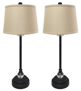 Image Is Loading Oil Rub Bronze Buffet Lamps With Linen Beige