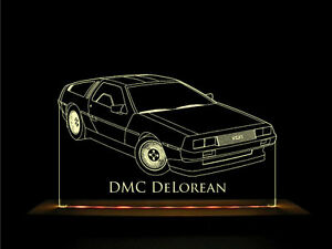 Details about DMC DeLorean LED Acrylic Edge Lit Sign + AC adaptor + Remote