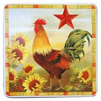 Gas Stove Burner Covers Set Of 4 Country Rooster 9 Decorative Plates Square