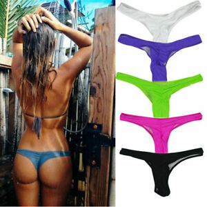 4578ba9b922 Image is loading Women-039-s-Bikini-Thongs-Ruched-Love-Brazilian-