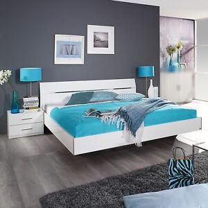 Details zu Bettanlage Starnberg Bett Nachtkommode Schlafzimmerset weiß  Hochglanz 160x200