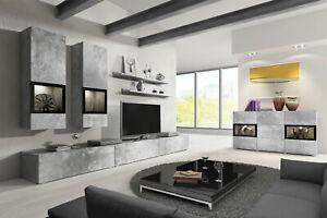 Details zu Wohnwand Wohnzimmer Set BAROS Weiß, Holzoptik, Betonoptik opt.  LED-Beleuchtung