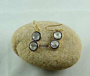 Diamond Jewelry Natural Uncut Diamond Polki 925 Sterling Silver Earrings jewelry