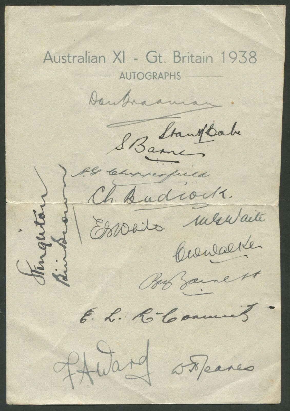 1938 AUSTRALIAN TEAM official team sheet. 14 signatures including Don Bradman