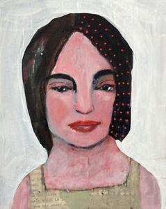Outsider Art Original Girl Portrait Painting Bruised Heart Katie Jeanne Wood