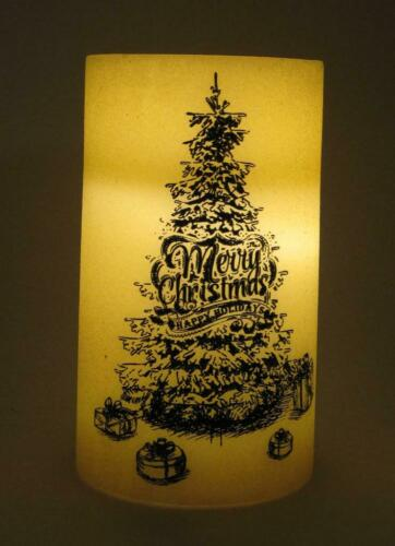 """4.5/"""" x 8/"""" tall Flameless LED Wax Pillar Candle with Christmas Tree Graphics"""