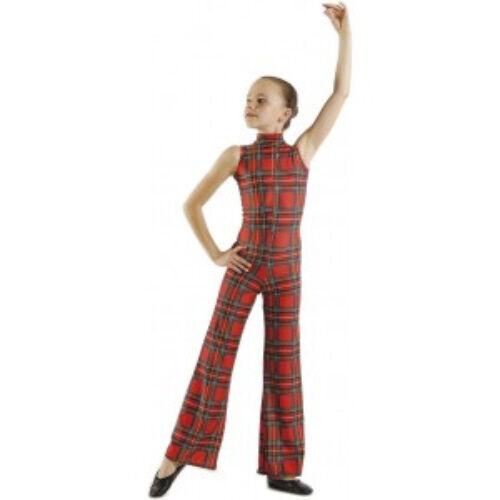 Pour commander écossais tartan rouge combinaison catsuit combinaison moulante danse costume