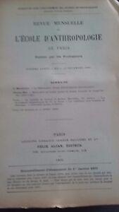 Rivista SCUOLA Antropologia 7 Eme Anni 1897 F.Alcan N° I ABE