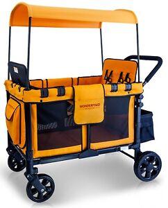 Wonderfold-Wagon-W4-Push-Multi-Function-4-Passenger-Quad-Folding-Stroller-Orange