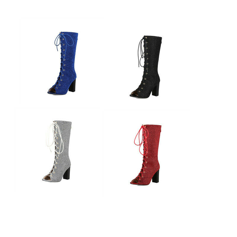 Occident Wouomo Open Toe Mid Calf Sandals stivali scarpe Back Zip High Block Heels
