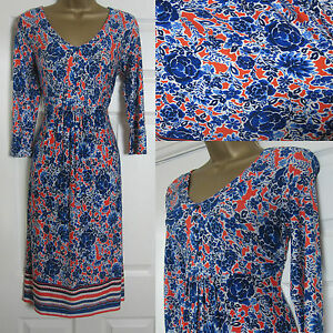 NEW-M-amp-S-Per-Una-Tea-Summer-Jersey-Dress-V-Neck-Blue-Bright-Orange-Size-6-22