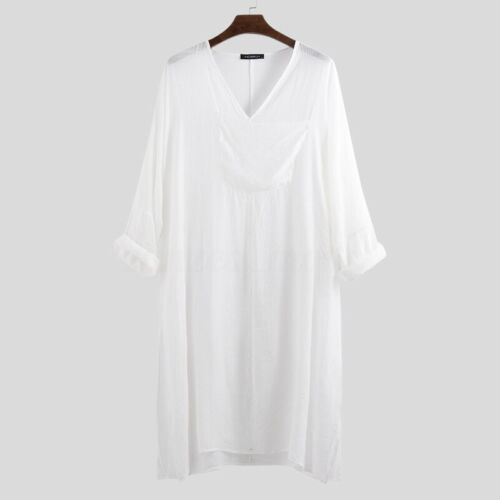 Summer Men/'s Muslim V-neck Long Loose shirt Loungewear Sleepwear T-shirt Kaftan