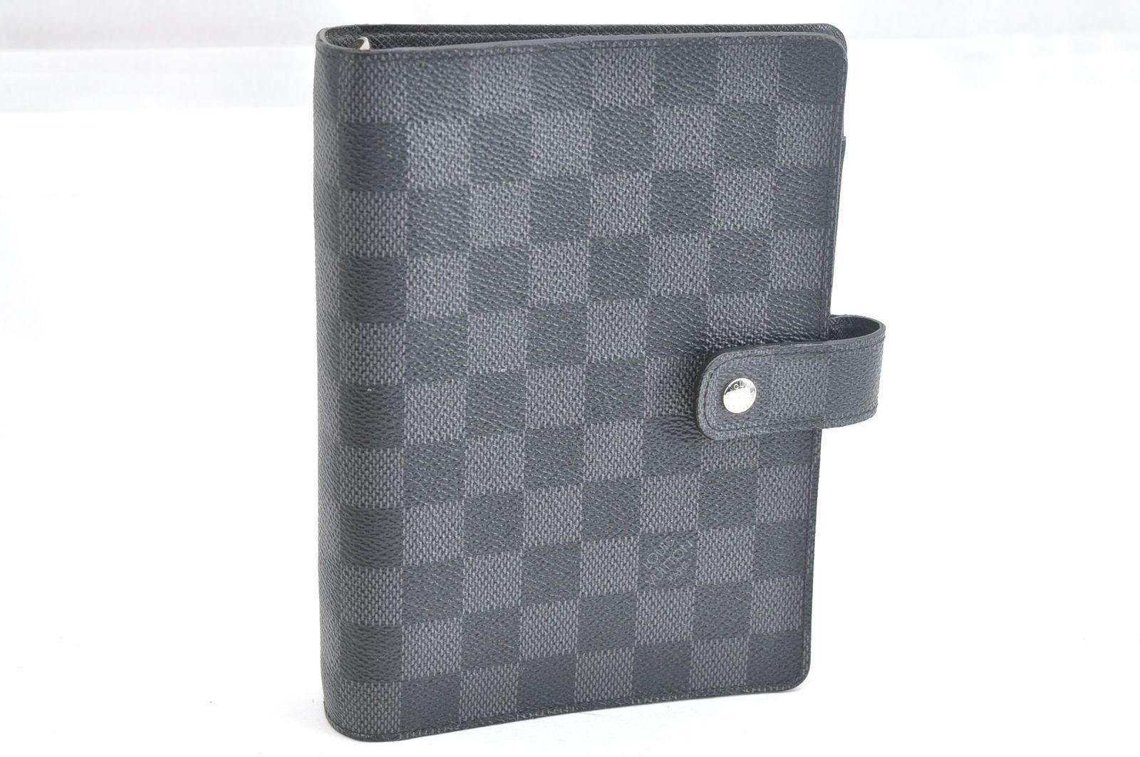 1c264f449d93 Auth Louis Vuitton Agenda Mm Notebook Cover Damier Graphite R20242 ...