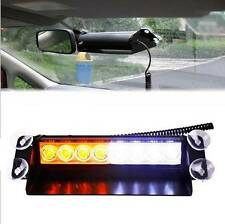 8 LED CAR VEHICLE WINDSHIELD DASHBOARD EMERGENCY STROBE LIGHT LAMP AMBER & WHITE