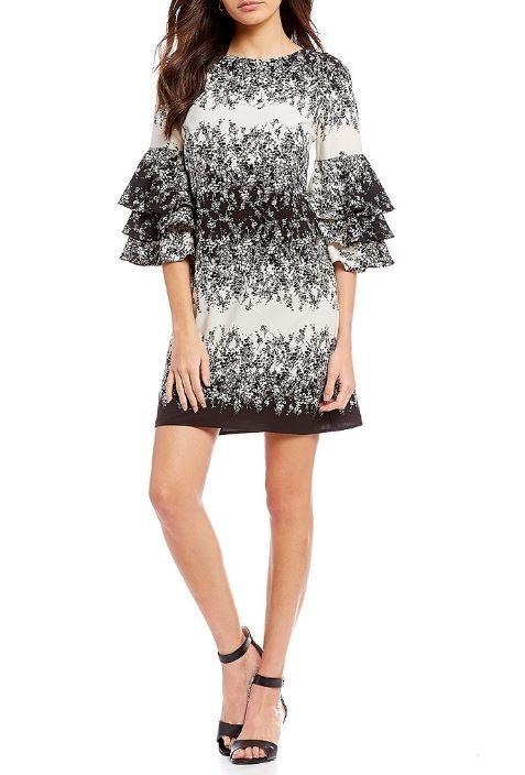 Leslie Fay schwarz Ivory Printed Tierot Bell Sleeve Short Dress Plus Größe 20W