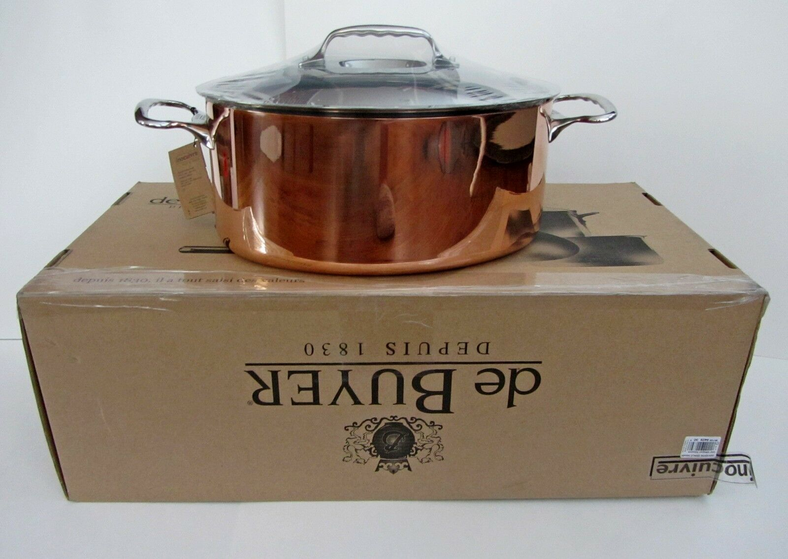 De Buyer INOCUIVRE Oval Stewpan w. Lid Copper Stainless France 6.5 Liters NEW