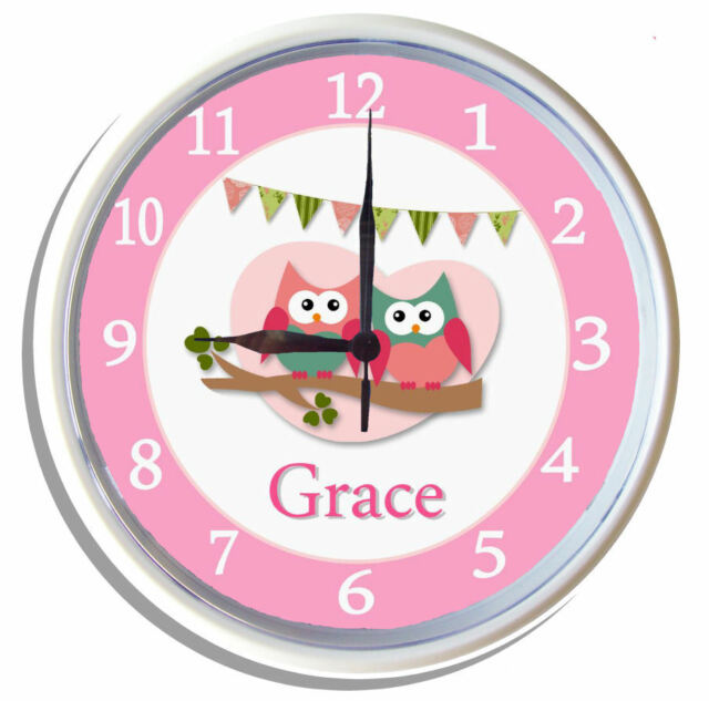 PERSONALISED Wall Clock CUTE HOOTS owls pink by Kids Art 25cm