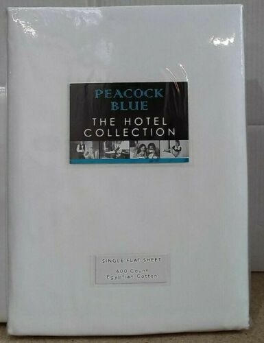 White Peacock Blue 600 Thread Count Cotton Single Flat Sheet 180x260cm
