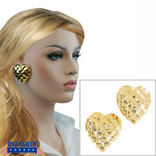 Huge Statement Gold Tone Quilted Heart Button Clip On Earrings
