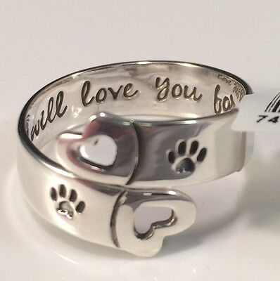 I Will Love You Forever Adjustable Dog Cat Memorial Ring 925 Sterling Silver
