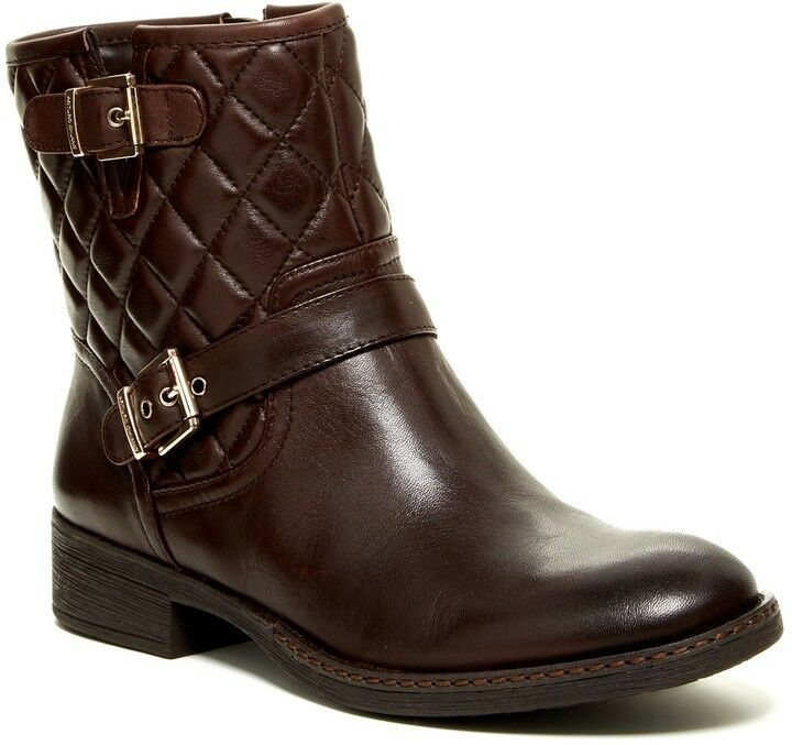 Arturo Chiang Sarabeth Quilted Brown Leather Ankle Motorcycle Boots SZ 7 NEW