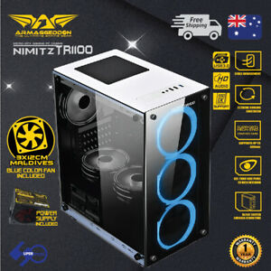 PC-Gaming-Case-Micro-ATX-Tower-Tempered-glass-235FX-PSU-amp-3x-Blue-LED-Fan-White