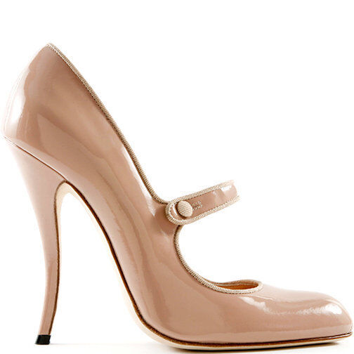 745 NEW MANOLO BLAHNIK Campy Campari Mary Jane Flesh Beige Patent SHOES 41.5 41