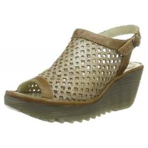 87bb1e9a5d9 Womens Fly London Yuti 734Fly Laser Cut Out Sling Back Leather Wedge ...