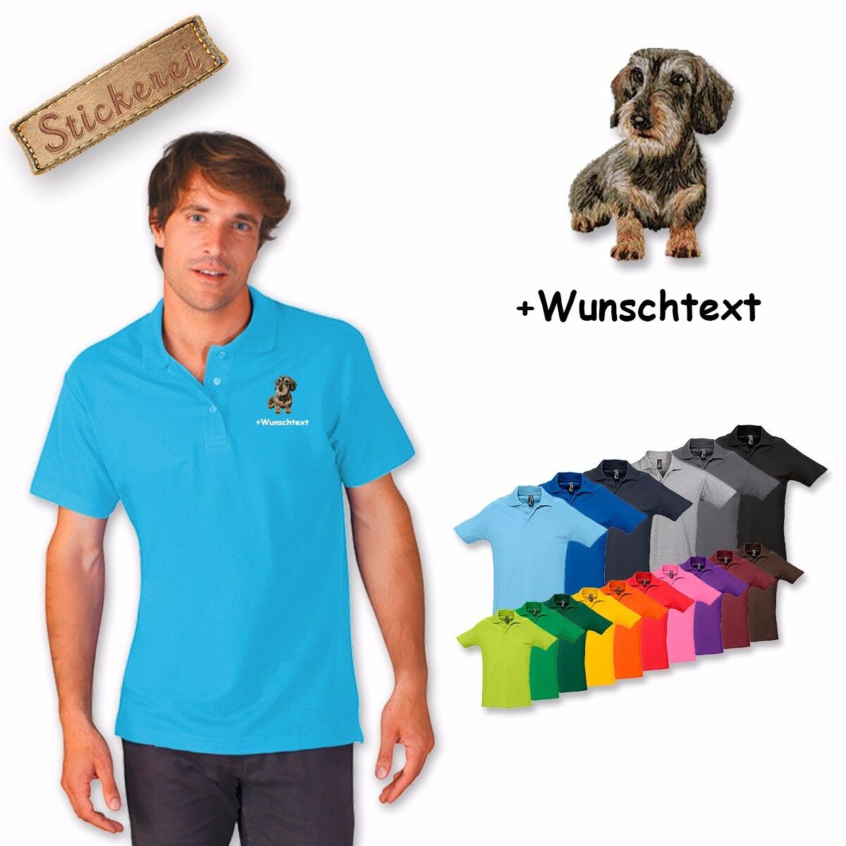 Polo Shirt Cotton Embroidered Dog Dachshund 2 + Text of Your Choice