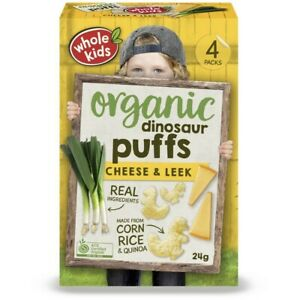 Whole Kids Organic Cheese & Leek Dinosaur Puffs 4 pack