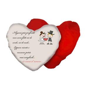 Anniversario Matrimonio 25.Cuscino A Forma Di Cuore Con Scritta Anniversario Matrimonio 25