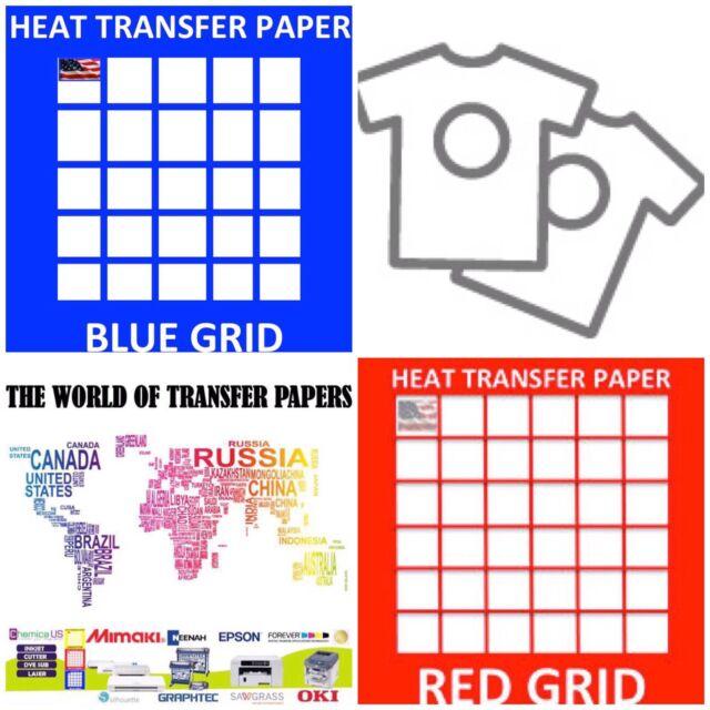 "InkJet T Shirt HEAT TRANSFER PAPER Combo 10 Sh Each  Dark /& Red Grid 8.5x11/"""